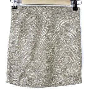 BCBGeneration Silver/Gold Metallic Mini Skirt
